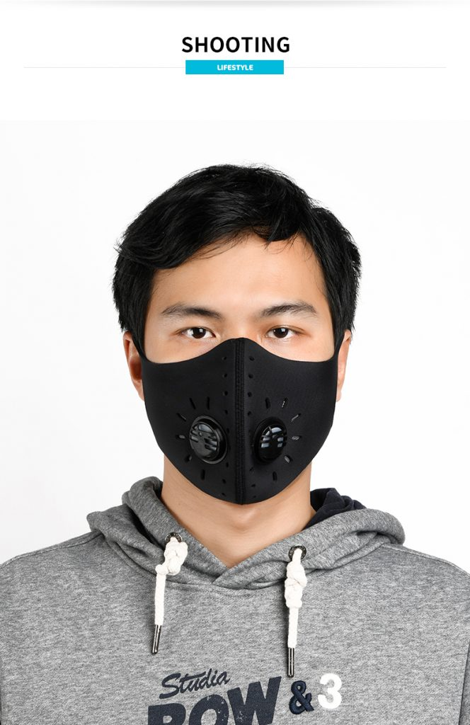 Sports breathing mask with KN95 filter and valve