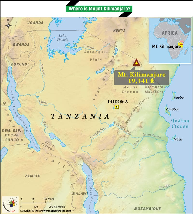 Where is Mount Kilimanjaro located? What is the height of the mountain?