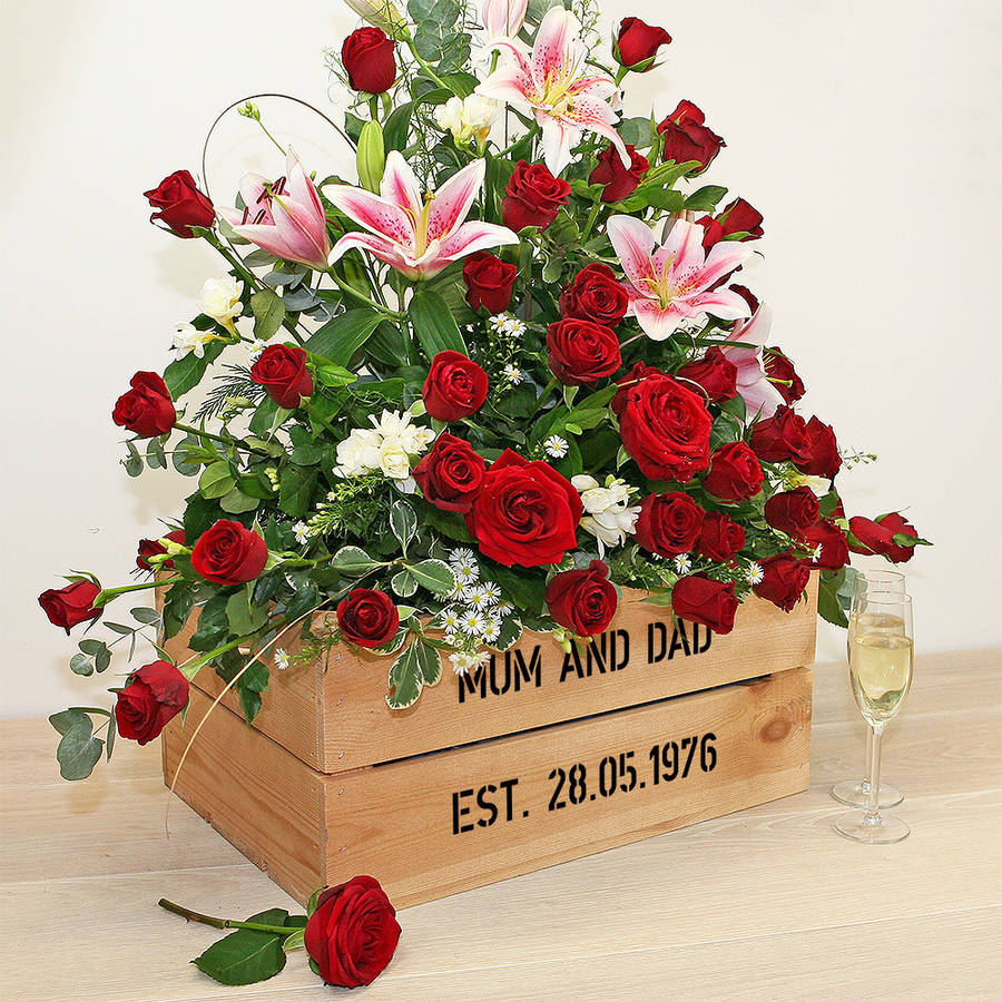 Personalised Crate Ruby Wedding Anniversary By Plantabox  notonthehighstreet.com